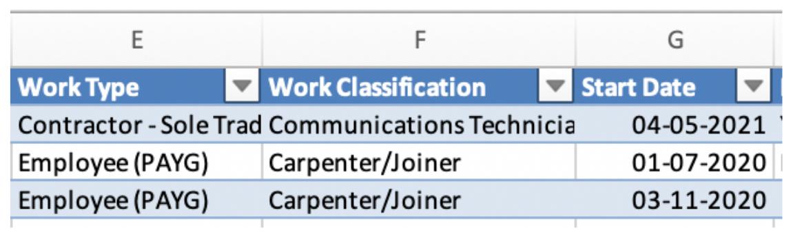 Spreadsheet columns E-G