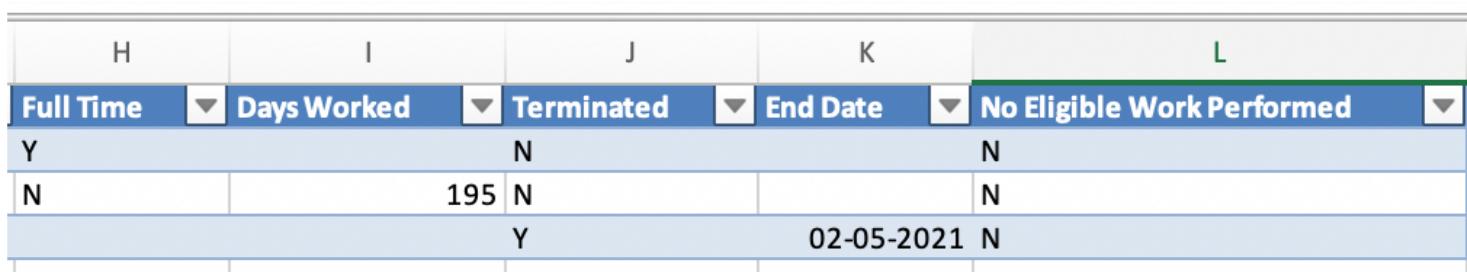 Spreadsheet columns H-L