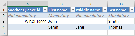 Image showing columns A-D in spreadsheet