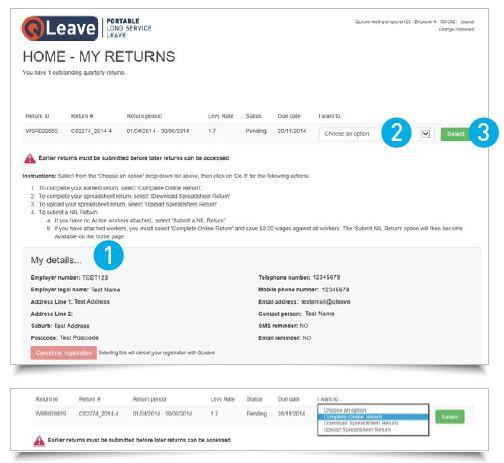 Employer return details