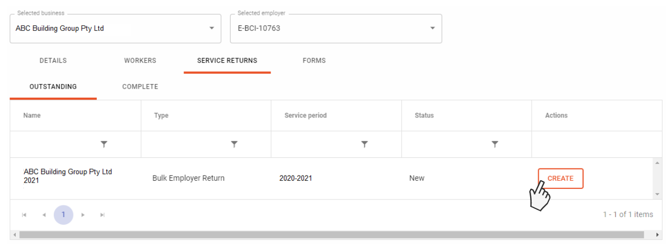 Screenshot showing the service return table in online services