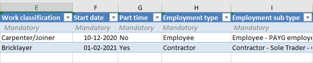 Image showing columns E-I in spreadsheet