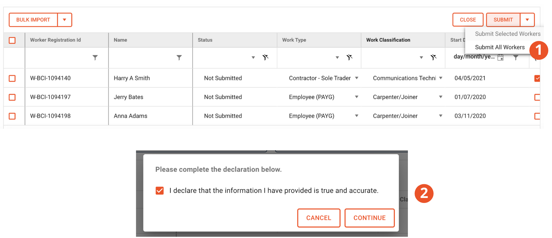 Select submit all workers to submit your return