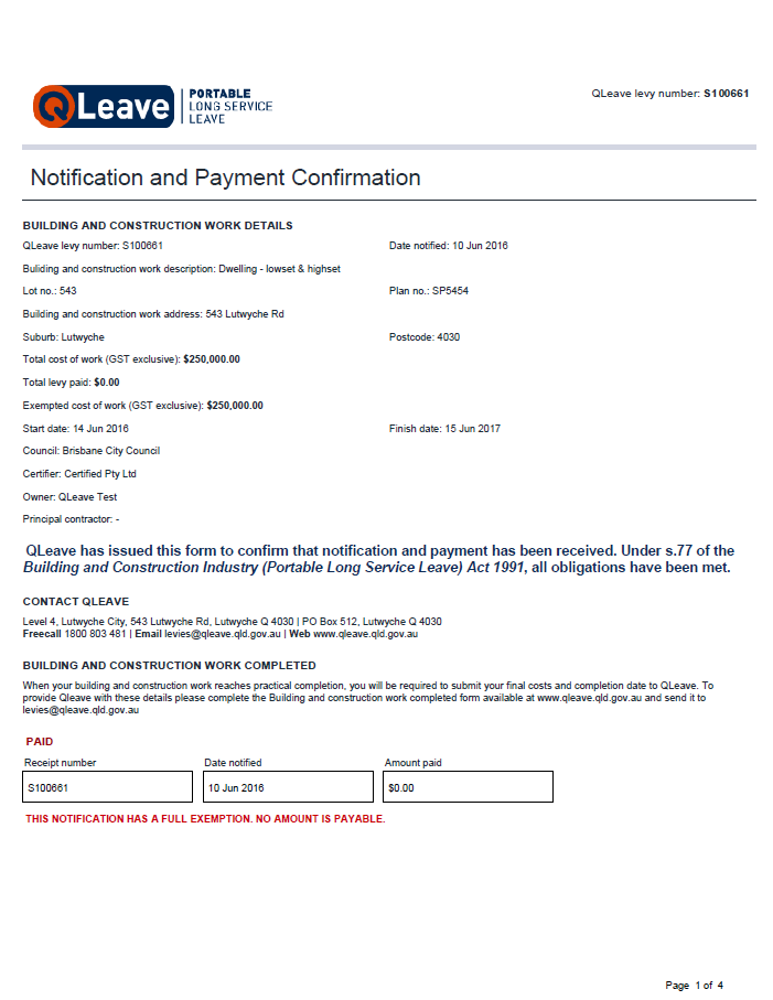 Online notification and payment confirmation form - full exemption