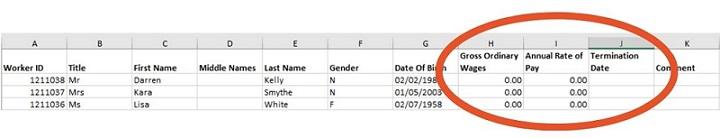 Complete spreadsheet return