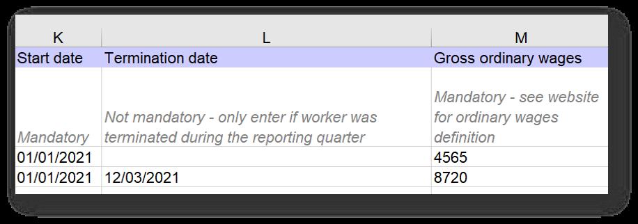 Employer return columns K to M