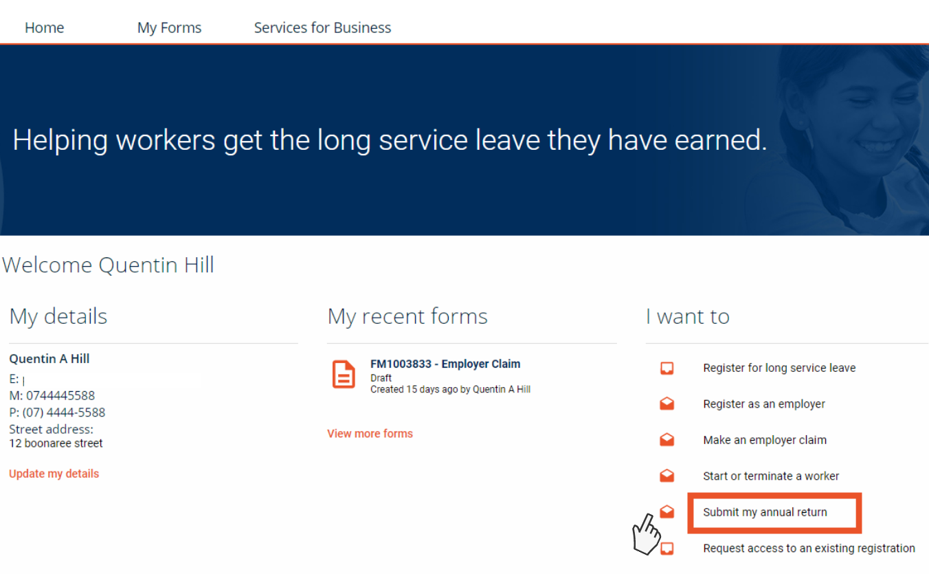 Screenshot showing online services home page