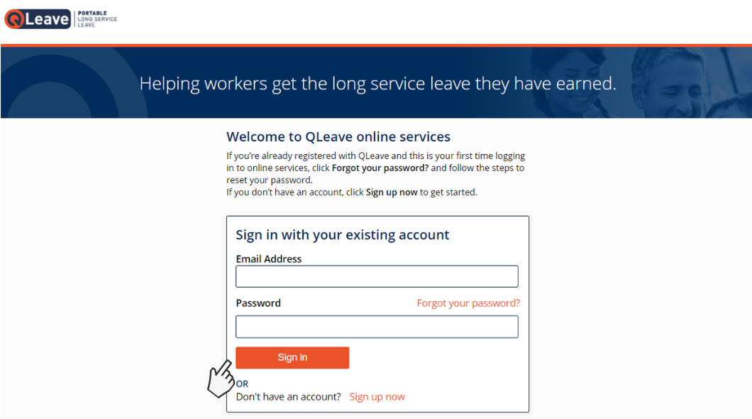 QLeave online services log in screen