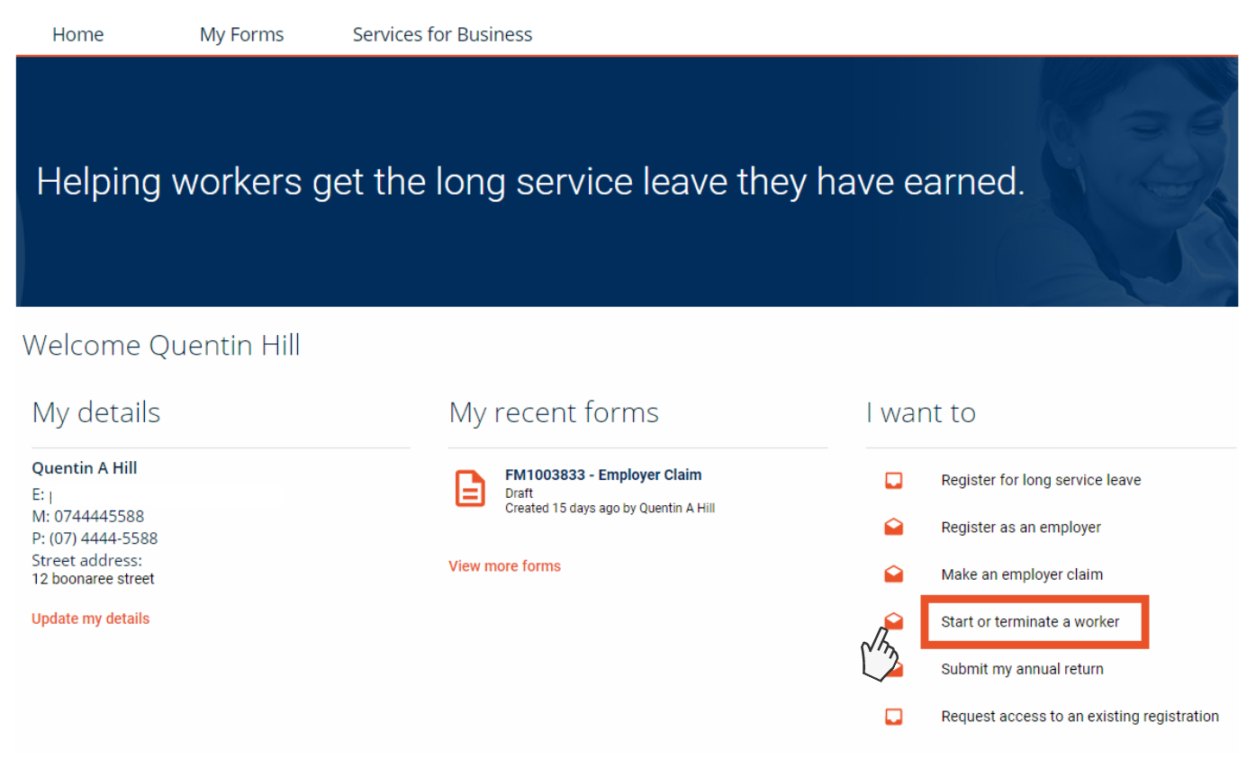 Screenshot showing the QLeave online services home page
