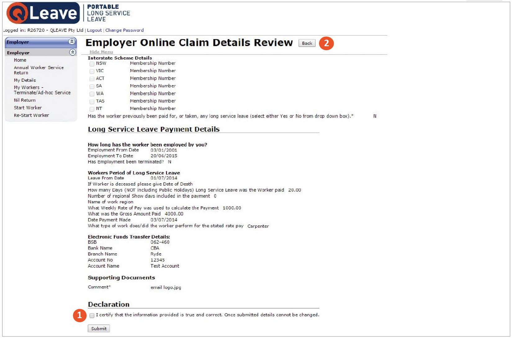 Review your online claim