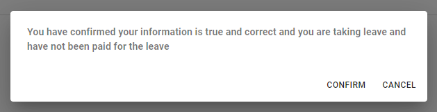 Image showing the pop up to confirm that information is true and correct