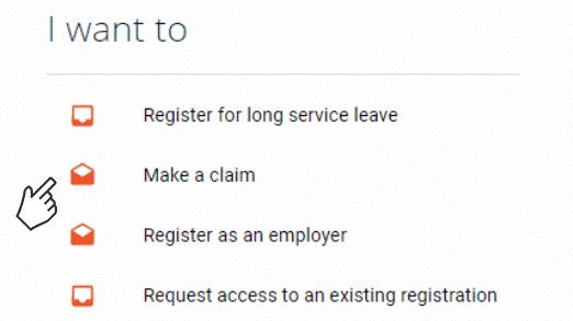 Screenshot of online services - click make a claim