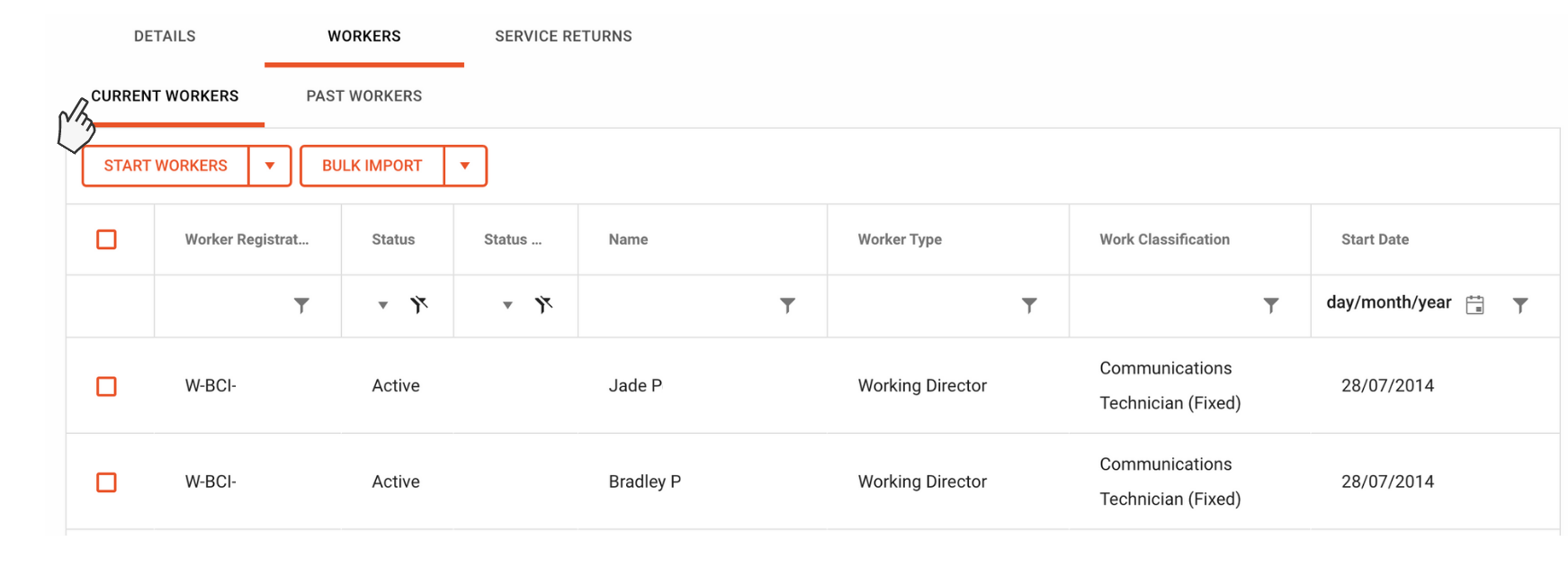 Image showing current workers table in QLeave online services