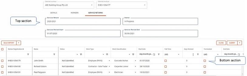 List of workers in service return screen