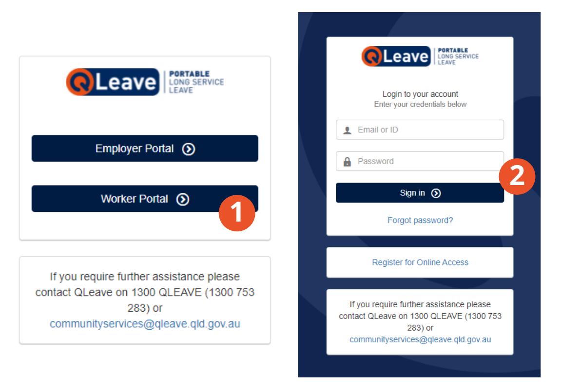 Image showing QLeave portal log in screens