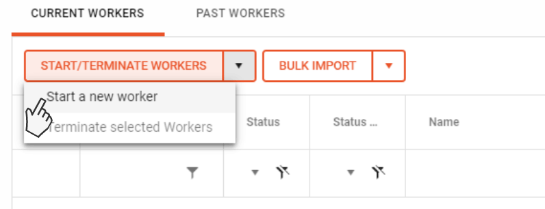 Image showing start worker button