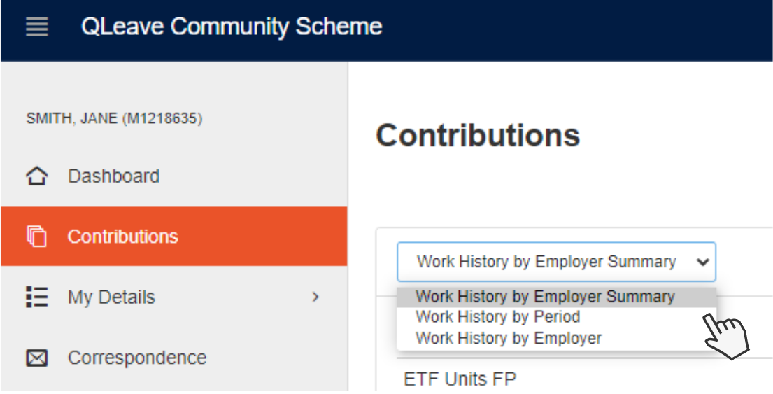 Image showing view options available for contributions table